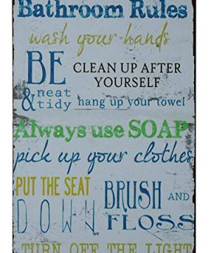 SKYC-Laundry-Rules-Typography-Vintage-Distressed-Metal-Tin-Signs-Rustic-Laundry-Room-Bathroom-Wall-Plaque-8X12Inch-0
