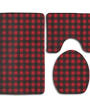 SWEET TANG Bath Mat 3 Piece Bathroom Rug Set Red Black Buffalo Check Plaid Pattern Non Slip Toilet Seat Cover Set Large Contour Mat Lid Cover For MenWomen 0 300x360