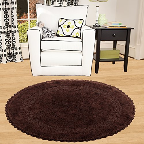Saffron Fabs Bath Rug 100 Soft Cotton 36 Inch Round Reversible Different Pattern On Both Sides Solid Chocolate Color Hand Knitted Crochet Lace Border Hand Tufted 200 GSF Weight Machine Washable 0 1