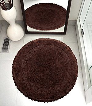 Saffron Fabs Bath Rug 100 Soft Cotton 36 Inch Round Reversible Different Pattern On Both Sides Solid Chocolate Color Hand Knitted Crochet Lace Border Hand Tufted 200 GSF Weight Machine Washable 0 300x348