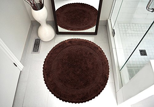 Saffron Fabs Bath Rug 100 Soft Cotton 36 Inch Round Reversible Different Pattern On Both Sides Solid Chocolate Color Hand Knitted Crochet Lace Border Hand Tufted 200 GSF Weight Machine Washable 0