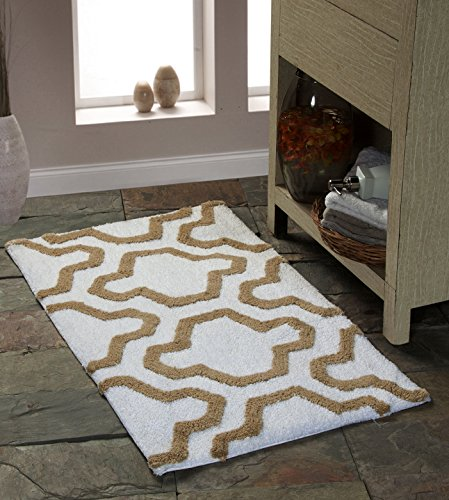 Saffron Fabs Bath Rug 100 Soft Cotton Size 50x30 Inch Latex Spray Non Skid Backing IvoryBeige Color Geometric Pattern Hand Tufted Heavy 190 GSF Weight Machine Washable Rectangular Shape 0 0