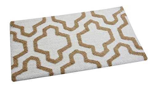 Saffron Fabs Bath Rug 100 Soft Cotton Size 50x30 Inch Latex Spray Non Skid Backing IvoryBeige Color Geometric Pattern Hand Tufted Heavy 190 GSF Weight Machine Washable Rectangular Shape 0 2