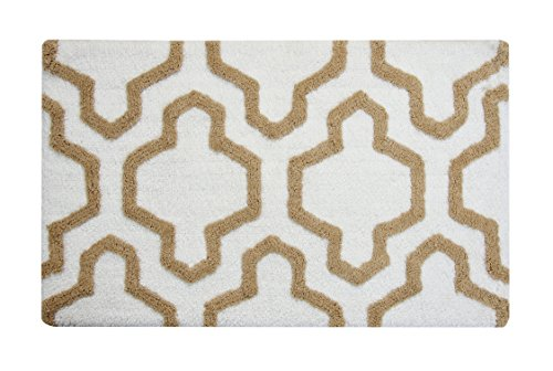 Saffron Fabs Bath Rug 100 Soft Cotton Size 50x30 Inch Latex Spray Non Skid Backing IvoryBeige Color Geometric Pattern Hand Tufted Heavy 190 GSF Weight Machine Washable Rectangular Shape 0