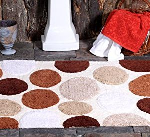 Saffron Fabs Bath Rug 100 Soft Cotton Size 50x30 Inch Latex Spray Non Skid Backing Multiple Brorwn Color Pebble Stone Pattern Machine Washable 0 300x275