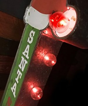 Santa Stop Here Christmas Holiday Decorative Sign Double Sided Metal Marquee Sign In Shape Of An Arrow With Large Red LED Light Bulbs 0 2 300x360