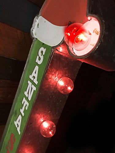 Santa Stop Here Christmas Holiday Decorative Sign Double Sided Metal Marquee Sign In Shape Of An Arrow With Large Red LED Light Bulbs 0 2