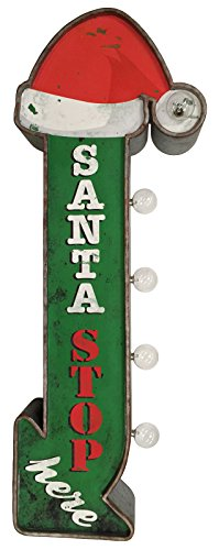Santa Stop Here Christmas Holiday Decorative Sign Double Sided Metal Marquee Sign In Shape Of An Arrow With Large Red LED Light Bulbs 0 5