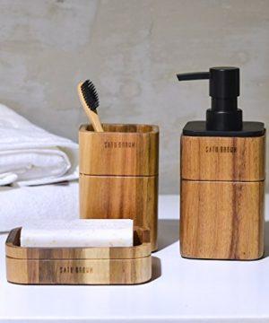 Satu Brown Bathroom Accessories Set Wood 3 Pieces Includes Bathroom Soap Dispenser Bathroom Tumbler Soap Dish 0 0 300x360