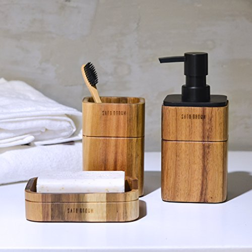 Satu Brown Bathroom Accessories Set Wood 3 Pieces Includes Bathroom Soap Dispenser Bathroom Tumbler Soap Dish 0 0