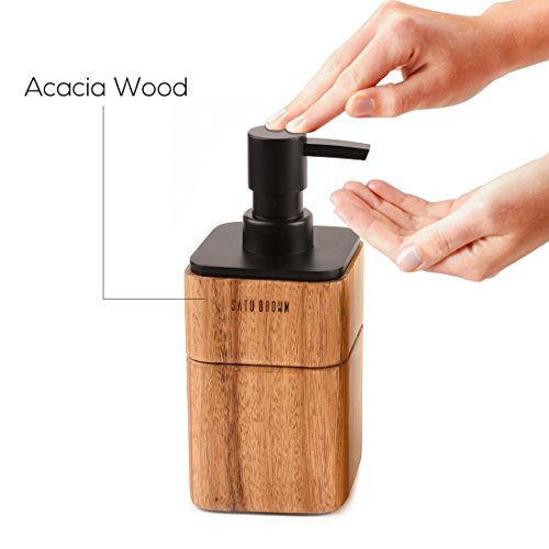 Satu Brown Bathroom Accessories Set Wood 3 Pieces Includes Bathroom Soap Dispenser Bathroom Tumbler Soap Dish 0 3
