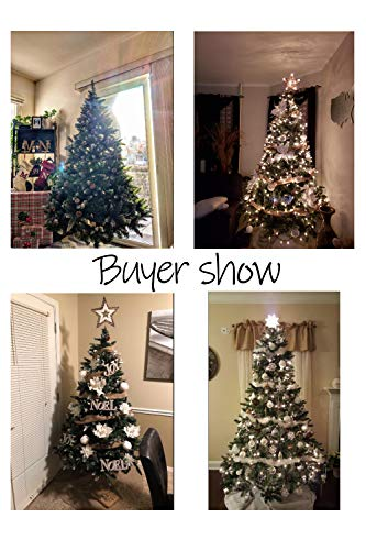 Senjie Artificial Christmas Tree 6775 Foot Flocked Snow Trees Pine Cone Decoration Unlit6 Foot Upgrade 0 0