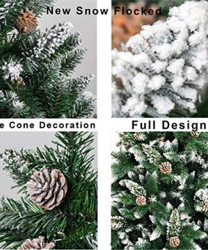 Senjie Artificial Christmas Tree 6775 Foot Flocked Snow Trees Pine Cone Decoration Unlit6 Foot Upgrade 0 1 300x360