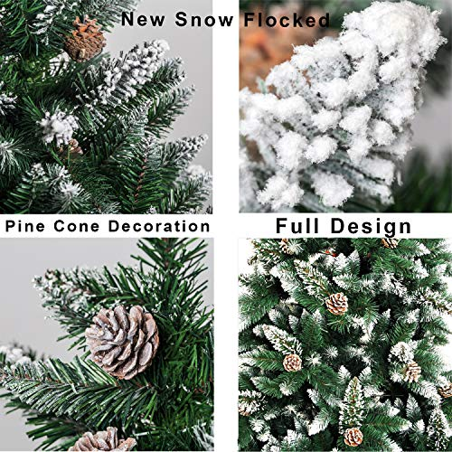 Senjie Artificial Christmas Tree 6775 Foot Flocked Snow Trees Pine Cone Decoration Unlit6 Foot Upgrade 0 1