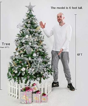 Senjie Artificial Christmas Tree 6775 Foot Flocked Snow Trees Pine Cone Decoration Unlit6 Foot Upgrade 0 2 300x360