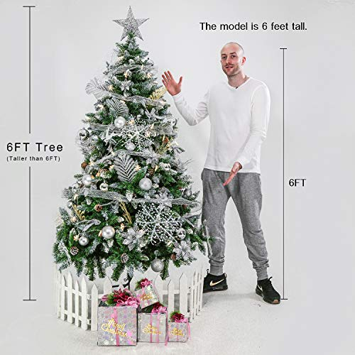 Senjie Artificial Christmas Tree 6775 Foot Flocked Snow Trees Pine Cone Decoration Unlit6 Foot Upgrade 0 2