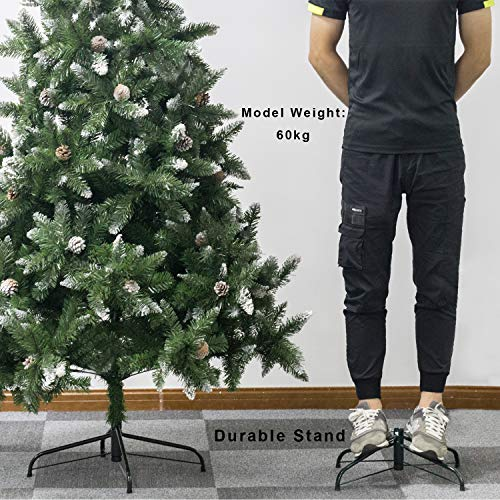 Senjie Artificial Christmas Tree 6775 Foot Flocked Snow Trees Pine Cone Decoration Unlit6 Foot Upgrade 0 3