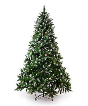 Senjie Artificial Christmas Tree 6775 Foot Flocked Snow Trees Pine Cone Decoration Unlit6 Foot Upgrade 0 300x360