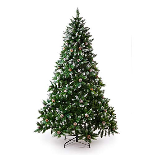 Senjie Artificial Christmas Tree 6775 Foot Flocked Snow Trees Pine Cone Decoration Unlit6 Foot Upgrade 0