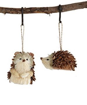 Set Of 2 Sisal Hedgehogs Hanging Christmas Ornaments 0 300x360