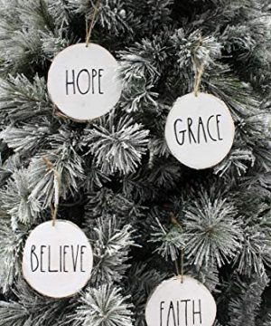 Set Of 4 Modern Farmhouse Rustic Rae Dunn Inspired Christmas Ornaments With FAITH HOPE GRACE BELIEVE Printed On 4 Natural Birch Wood White Circles With Jute Hanger Giftboxed 0 0 300x360