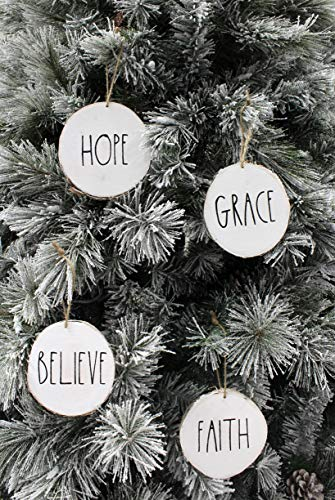 Set Of 4 Modern Farmhouse Rustic Rae Dunn Inspired Christmas Ornaments With FAITH HOPE GRACE BELIEVE Printed On 4 Natural Birch Wood White Circles With Jute Hanger Giftboxed 0 0