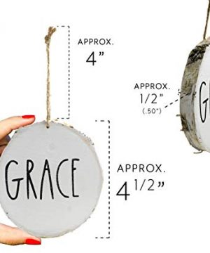 Set Of 4 Modern Farmhouse Rustic Rae Dunn Inspired Christmas Ornaments With FAITH HOPE GRACE BELIEVE Printed On 4 Natural Birch Wood White Circles With Jute Hanger Giftboxed 0 1 300x360