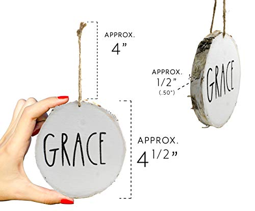 Set Of 4 Modern Farmhouse Rustic Rae Dunn Inspired Christmas Ornaments With FAITH HOPE GRACE BELIEVE Printed On 4 Natural Birch Wood White Circles With Jute Hanger Giftboxed 0 1