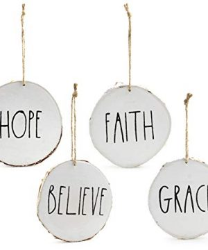 Set Of 4 Modern Farmhouse Rustic Rae Dunn Inspired Christmas Ornaments With FAITH HOPE GRACE BELIEVE Printed On 4 Natural Birch Wood White Circles With Jute Hanger Giftboxed 0 300x360