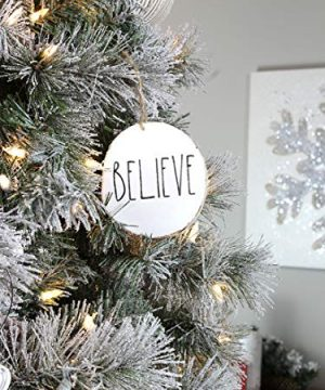 Set Of 4 Modern Farmhouse Rustic Rae Dunn Inspired Christmas Ornaments With FAITH HOPE GRACE BELIEVE Printed On 4 Natural Birch Wood White Circles With Jute Hanger Giftboxed 0 5 300x360