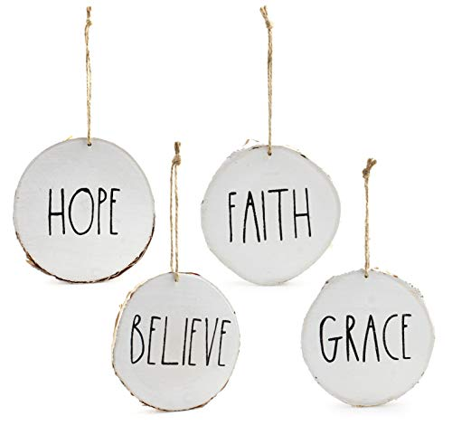 Set Of 4 Modern Farmhouse Rustic Rae Dunn Inspired Christmas Ornaments With FAITH HOPE GRACE BELIEVE Printed On 4 Natural Birch Wood White Circles With Jute Hanger Giftboxed 0
