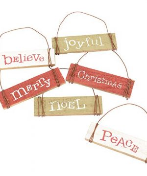 Set Of 6 Assorted Honey Me 35 Mini Wood Block Sign Ornaments Merry Christmas 0 300x360