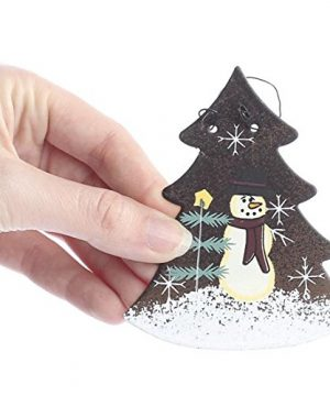 Set Of 6 Rustic Tin Christmas Tree Ornaments With Hand Painted Snowman Scene On Front 0 0 300x360