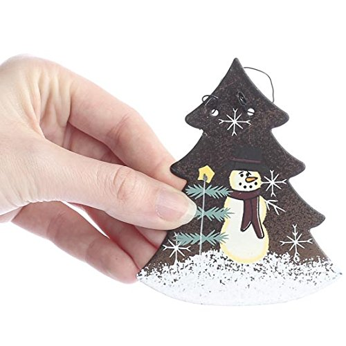 Set Of 6 Rustic Tin Christmas Tree Ornaments With Hand Painted Snowman Scene On Front 0 0
