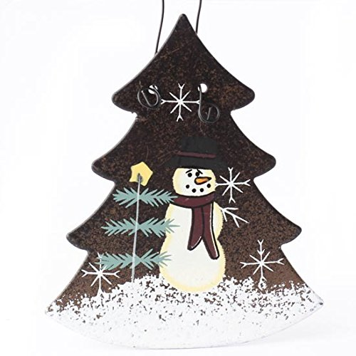 Set Of 6 Rustic Tin Christmas Tree Ornaments With Hand Painted Snowman Scene On Front 0
