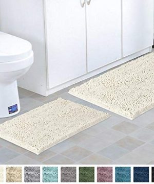 Shag Chenille Bath Rugs Non Slip Thick Shaggy Chenille Bathroom Rugs Bath Mats For Bathroom Extra Soft And Absorbent Bath Rugs Set For IndoorKitchen Set Of 2 20 X 3217 X 24 Cream 0 0 300x360