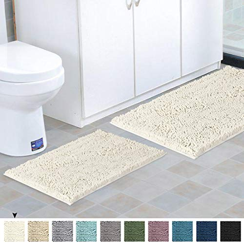 Shag Chenille Bath Rugs Non Slip Thick Shaggy Chenille Bathroom Rugs Bath Mats For Bathroom Extra Soft And Absorbent Bath Rugs Set For IndoorKitchen Set Of 2 20 X 3217 X 24 Cream 0 0