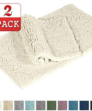 Shag Chenille Bath Rugs Non Slip Thick Shaggy Chenille Bathroom Rugs Bath Mats For Bathroom Extra Soft And Absorbent Bath Rugs Set For IndoorKitchen Set Of 2 20 X 3217 X 24 Cream 0 300x360