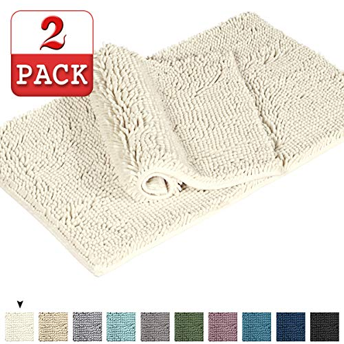 Shag Chenille Bath Rugs Non Slip Thick Shaggy Chenille Bathroom Rugs Bath Mats For Bathroom Extra Soft And Absorbent Bath Rugs Set For IndoorKitchen Set Of 2 20 X 3217 X 24 Cream 0