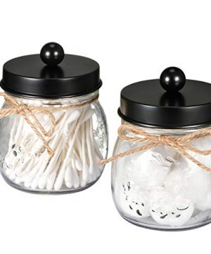 SheeChung Apothecary Jars SetMason Jar Decor Bathroom Vanity Storage Organizer CanisterPremium Quality Glass Qtip Holder Dispenser For QtipsCotton SwabsBall Stainless Steel Lid Black 2 Pack 0 300x360