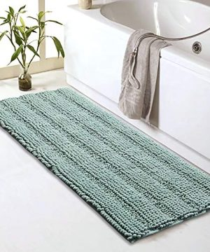 Sheepping Striped Chenille Bathroom Rugs Runner 47 X 17 Soft Non Slip Long Bath Mat Absorbent And Machine Washable Shaggy Bath Rugs Runner For Bathroom Tub Or Kitchen Green 0 300x360