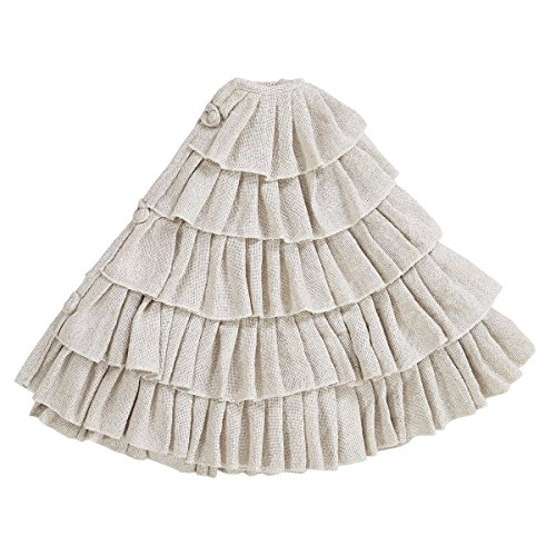 Shimmer Burlap Creme Ruffle Trim Rustic Christmas Tree Skirt 50 Inches Holiday Decoration 0 0