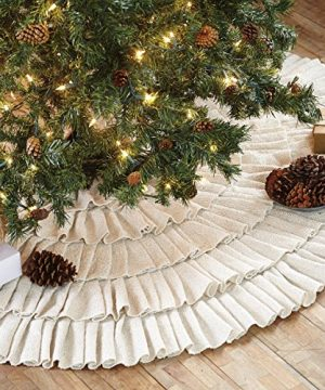 Shimmer Burlap Creme Ruffle Trim Rustic Christmas Tree Skirt 50 Inches Holiday Decoration 0 1 300x360