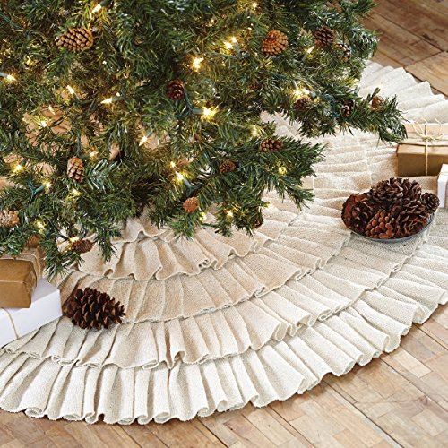 Shimmer Burlap Creme Ruffle Trim Rustic Christmas Tree Skirt 50 Inches Holiday Decoration 0 1