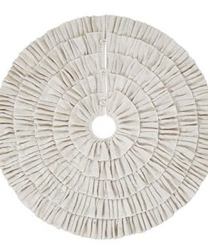 Shimmer Burlap Creme Ruffle Trim Rustic Christmas Tree Skirt 50 Inches Holiday Decoration 0 300x360
