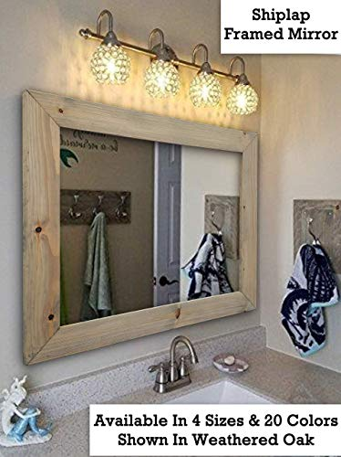 Shiplap Large Wood Framed Mirror Available In 4 Sizes And 20 Colors Shown Weathered Oak Wall Rustic Barnwood Style Bathroom