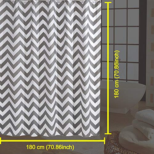 Shower Curtain Gray Striped Paisue Washable Hotel Quality Waterproof Fabric Shower Curtain For Bathroom 70 X 70 Inch 0 2