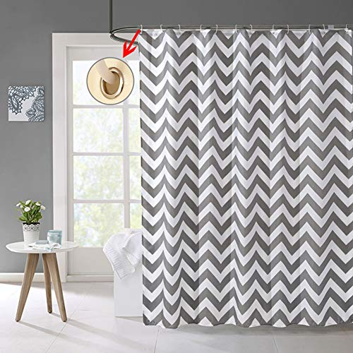 Shower Curtain Gray Striped Paisue Washable Hotel Quality Waterproof Fabric Shower Curtain For Bathroom 70 X 70 Inch 0 3