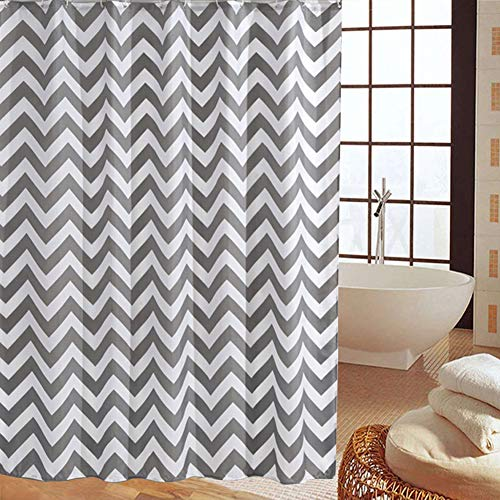 Shower Curtain Gray Striped Paisue Washable Hotel Quality Waterproof Fabric Shower Curtain For Bathroom 70 X 70 Inch 0