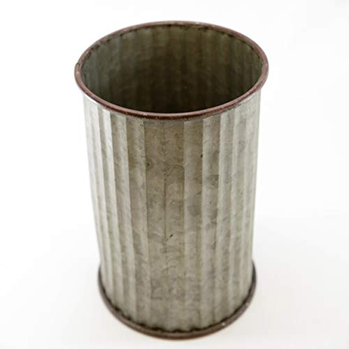 Silvercloud Trading Co Large Corrugated Galvanized Tin Can For Outdoor Or Indoor 975 Tall Great For Floral Display Or Storage 0